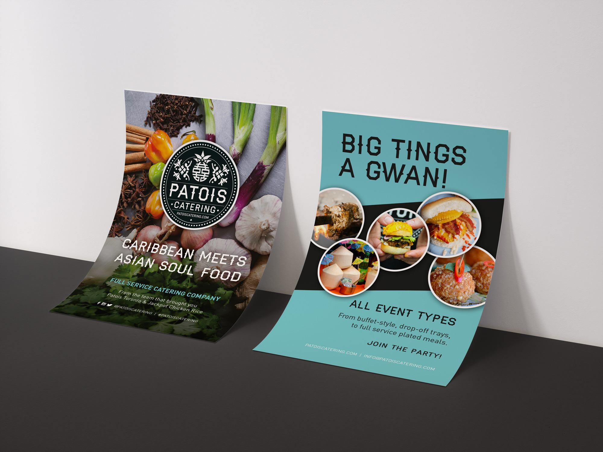 Patois Catering flyer designed by Elsie Lam.