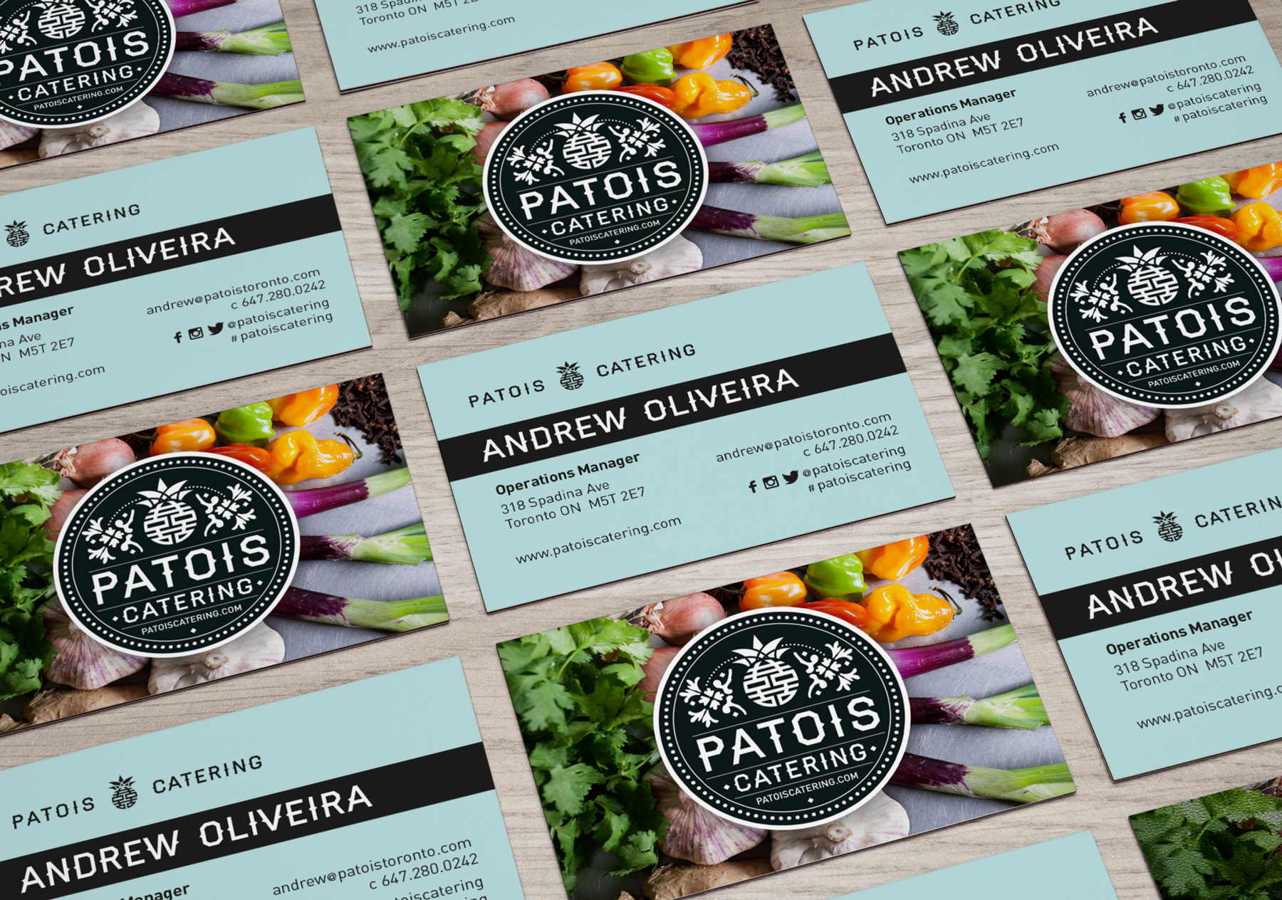Patois Catering business cards. Designed by Elsie Lam.